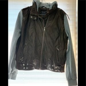 Faux brown leather bomber jacket w/hood